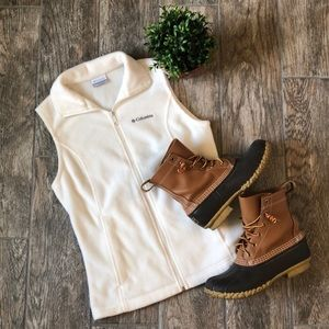 Columbia Winter White Fleece Zipper Vest
